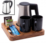 Bamboo Welcome Tray with Hazeley Kettle 1Ltr