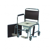Mobile Commode Extra Wide,  With Locking Castors & Footrests, Height Adj. - 22""