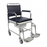 "Adjustable Height Heavy Duty Mobile Commode 18"" Seat"