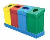 Flatpack recycling bins -75Ltr -Green with letterbox opening