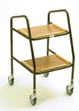 Adj height walker trolley with wooden shelves