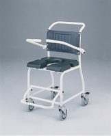 Attendant propelled gull wing commode and shower chair