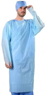 Blue Long Sleeve Isolation Gown 40g/Size: 117 x 193cm (10)