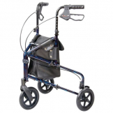Tri-wheel walker with bag & pressure brakes
