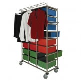 24 Tray Laundry Karri-Cart with Garment Hanging Rail