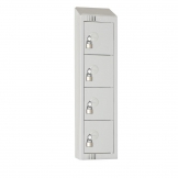 Elite Personal Effects Locker 4 Door Grey Padlock Sloping Top