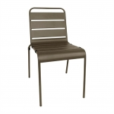 Bolero Coffee Slatted Steel Side Chairs (Pack of 4)