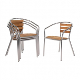 Bolero Aluminium and Ash Chairs (Pack of 4)