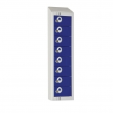Elite Personal Effects Locker 8 Door Blue Camlock Sloping Top
