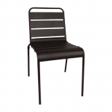 Bolero Black Slatted Steel Side Chairs (Pack of 4)