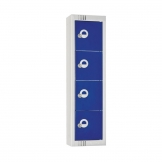 Elite Personal Effects Locker 4 Door Blue Padlock