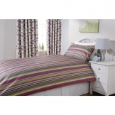 Essentials Florence Stripe Duvet Cover Damson (152 TC, FR Polyester)