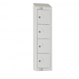 Elite Personal Effects Locker 4 Door Grey Camlock Sloping Top