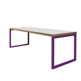 Bolero Dining Table White with Violet Frame 4ft