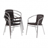 Bolero Aluminium and Black Wicker Chairs Black (Pack of 4)