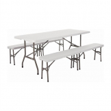 Special Offer Bolero 6ft Centre Folding Table with Two Folding Benches