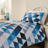 Essentials Geo Duvet Cover Open Blue Double (144 TC, Polycotton)