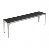 Bolero Charcoal Faux Wood and Steel Bench Pack of 2