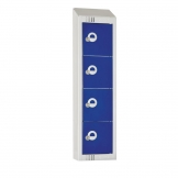 Elite Personal Effects Locker 4 Door Blue Camlock Sloping Top