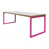 Bolero Dining Table White with Pink Frame 7ft