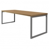 Bolero Dining Table Beech Effect with Silver Frame 4ft