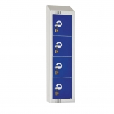 Elite Personal Effects Locker 4 Door Blue Padlock Sloping Top