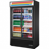 True 2 Glass Door Visual Merchandiser Fridge - Black TVM-48SL